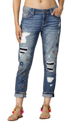 Miss Me Women's Indigo Rip Repair Embroidered Jeans - Boyfriend Ankle, , hi-res