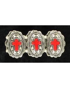 Blazin Roxx Red Cross Concho Bracelet, , hi-res
