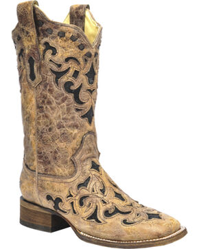 Corral Stingray Inlay Cowgirl Boots - Square Toe, Brown, hi-res