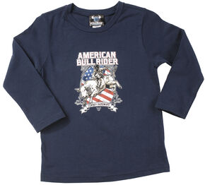 Cowboy Hardware Navy Toddler Boys American Bull Rider Long Sleeve T-Shirt , Navy, hi-res