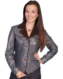 Scully Women's Blue Lamb Leather Jacket, , hi-res