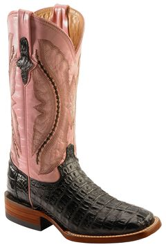 Ferrini Black Hornback Caiman Cowgirl Boots - Wide Square Toe, , hi-res