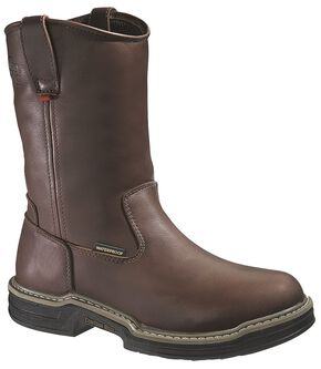 Wolverine Buccaneer Waterproof Pull-On Work Boots - Steel Toe, Dark Brown, hi-res