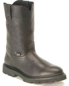 Justin Premium Pull-On Work Boots - Round Toe, Black, hi-res