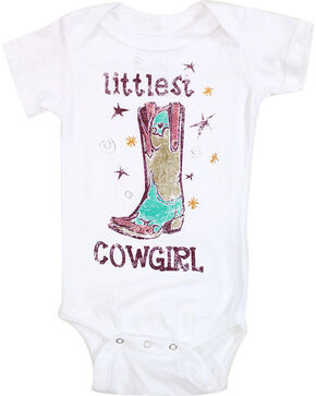 Shyanne Infant Girls' Littlest Cowgirl Short Sleeve Onesie, White, hi-res