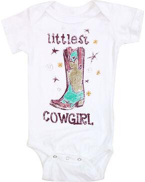 Shyanne Infant Girls' Littlest Cowgirl Short Sleeve Onesie, White, hi-res