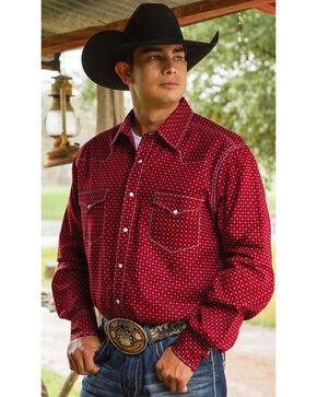 Cinch Men's Red Print Double Pocket Long Sleeve Shirt , Red, hi-res