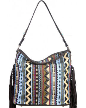 Montana West Western Aztec Collection Blue Handbag, Blue, hi-res