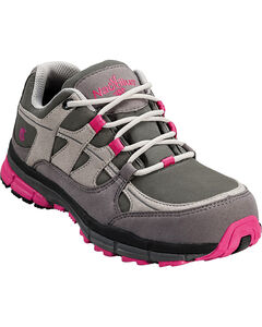 Nautilus Women's Pink & Grey Lightweight ESD Athletic Work Shoes - Steel Toe , , hi-res