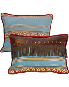 HiEnd Accents Ruidoso Blue Striped Fringe Throw Pillow, , hi-res