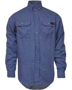Tecgen Men's Long Sleeve Flame Resistant Industrial Work Shirt, Blue, hi-res