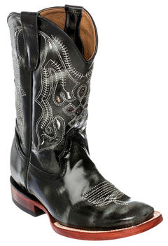 Ferrini Boys' Marble Cowhide Western Boots - Square Toe, Black, hi-res