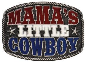 "Montana Silversmiths ""Mama's Little Cowboy"" Kid's Attitude Belt Buckle, Grey, hi-res"