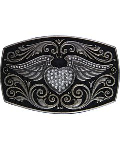 Montana Silversmiths Rock 47 Winged CZ Heart Belt Buckle, , hi-res