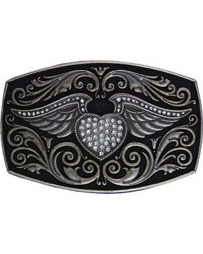 Montana Silversmiths Rock 47 Winged CZ Heart Belt Buckle, Silver, hi-res