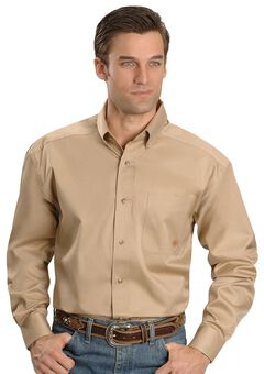 Ariat Khaki Twill Cowboy Shirt, , hi-res