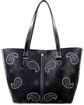 Montana West Paisley Collection Handbag, Black, hi-res