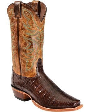 Nocona Caiman Cowboy Boots - Narrow Square Toe, Chocolate, hi-res