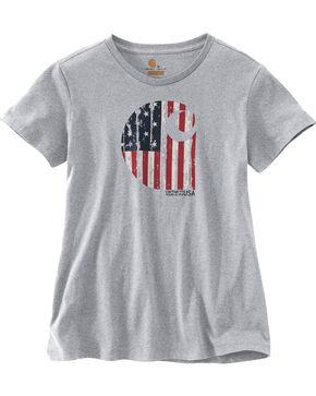 Carhartt Women's Grey Lubbock Graphic American Branded 'C' T-Shirt, Grey, hi-res