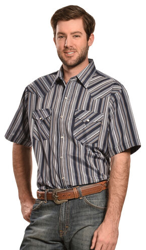 Ely Cattleman Men's Navy and Grey Dobby Stripe Western Shirt , Navy, hi-res