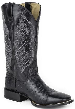 Roper Ostrich Print Cowboy Boots - Square Toe, Black, hi-res