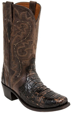 Lucchese Chocolate Dwight Caiman Cowboy Boots - Square Toe  , , hi-res