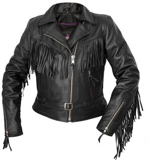 Interstate Leather Fringe Riding Jacket - Reg, Black, hi-res