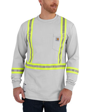 Carhartt Men's Flame Resistant Force High-Viz Long Sleeve Shirt, Lt Grey, hi-res