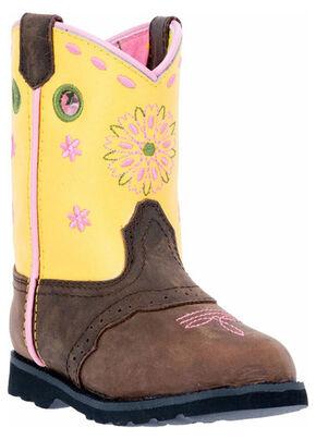 John Deere Toddler Girls' Johnny Popper Floral Western Boots - Square Toe, Tan, hi-res