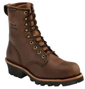 "Chippewa Waterproof Insulated 8"" Logger Boots - Round Toe, Bay Apache, hi-res"