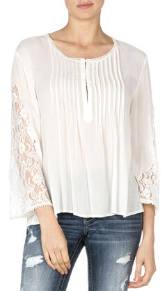Miss Me Women's Pleated Lace Sleeve Top, , hi-res