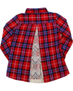 Shyanne Girls' Peekaboo Lace Plaid Long Sleeve Flannel Shirt , Red, hi-res