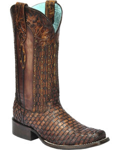 Corral Women's Exotic Lizard Woven Cowgirl Boots - Square Toe, , hi-res