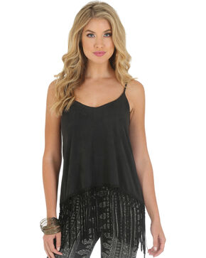 Wrangler Rock 47 Women's Faux Knit Suede Tank with Fringe, Black, hi-res