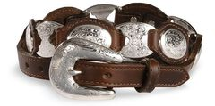 Tony Lama Concho Link Leather Belt, , hi-res