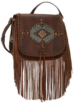 American West Pueblo Moon Fringe Crossbody Flap Bag, , hi-res