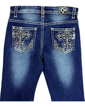 Cowgirl Hardware Girls' Cross Embroidered Jeans (7-16), Indigo, hi-res