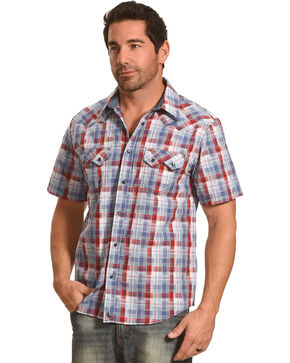 Cody James Men's Sidewinder Western Plaid Short Sleeve Shirt - Big and Tall, Grey, hi-res