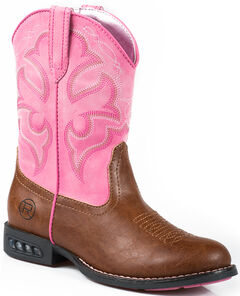 Roper Youth Girls' Pink Light-Up Cowgirl Boots - Round Toe  , , hi-res