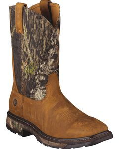 Ariat Workhog Mossy Oak Camo Pull-On Work Boots - Square Toe, , hi-res