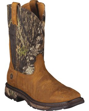 Ariat Workhog Mossy Oak Camo Pull-On Work Boots - Square Toe, Tan, hi-res