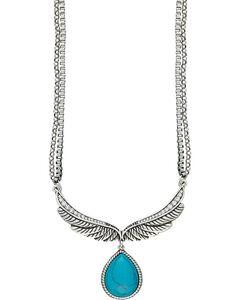 Wrangler Rock 47 Tattoo Art Blue Teardrop on Wings Necklace, , hi-res