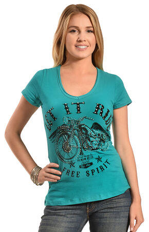 Liberty Wear Women's Let It Ride Tee - Plus, Jade, hi-res