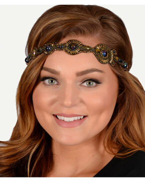 Pink Pewter Bronze Hand Beaded Danica Stretch Headband, Bronze, hi-res