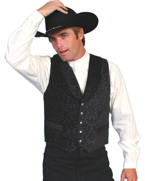 WahMaker Old West by Scully Brocade Vest, Black, hi-res