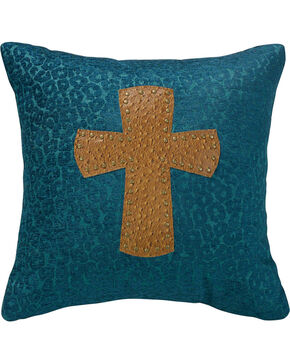 "HiEnd Accents Leopard Cross Chenille 18"" x 18"" Pillow, Multi, hi-res"