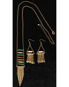 Blazin Roxx Women's Fringe Trendy Jewelry Set , Bronze, hi-res
