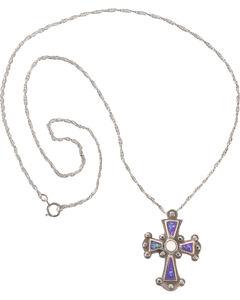 Silver Legends Women's Sterling Silver Lavender Cross Necklace , , hi-res