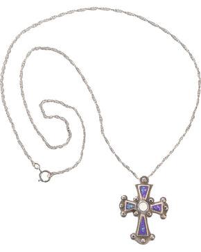 Silver Legends Women's Sterling Silver Lavender Cross Necklace , Lavender, hi-res