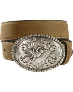 Nocona Children's Bull Rider Buckle Distressed Leather Belt - 18-26, , hi-res